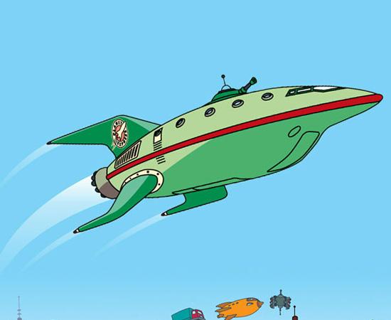 Esta é uma das naves da Planet Express, de Futurama. É usada para entregas interplanetárias.