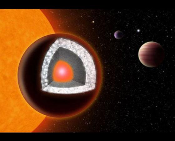 O planeta 55 Cancri e é 60% mais largo em diâmetro do que a Terra e já é conhecido desde 2004. Mas foi em 2012 que os cientistas descobriram um fato curioso sobre sua composição: pelo menos um terço dessa massa seria de puro diamante.