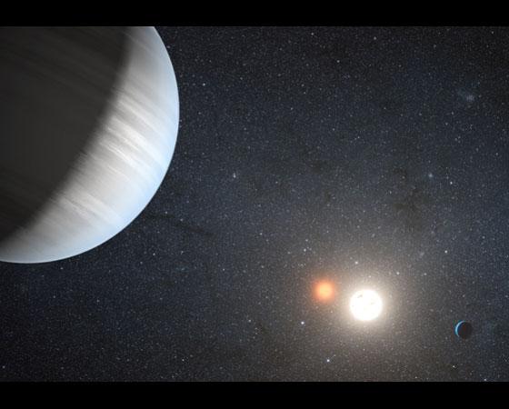 Pela primeira vez, astrônomos descobriram dois planetas girando em torno de um par de estrelas. Isso representa o primeiro sistema solar completo com sóis gêmeos, como no lar adotivo de Luke Skywalker, Tatooine, na saga Star Wars.