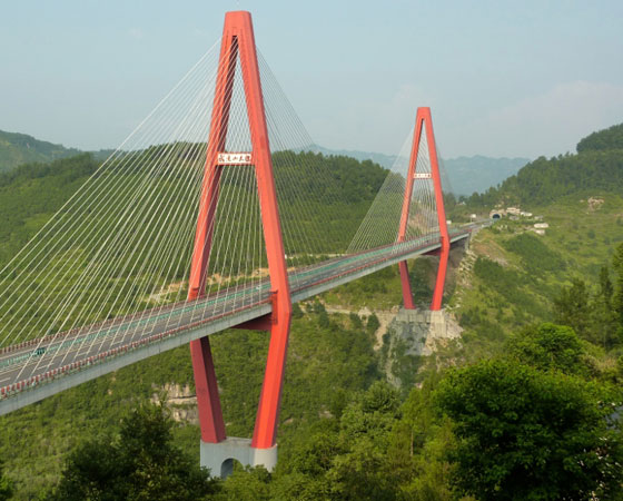 15. Wulingshan Bridge. Inaugurada em 2009, esta ponte tem 263 metros de altura. Fica em Chongqing, na China.