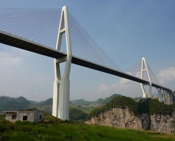 20. Malinghe River Bridge. Uma das muitas pontes localizadas na província de Guizhou, na China, esta ponte tem 241 metros de altura. Foi inaugurada em 2011.