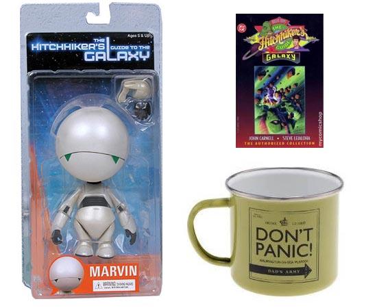 PRODUTOS - Apesar de a marca 'O Guia do Mochileiro das Galáxias' não ser muito explorada atualmente, ainda existem muitos produtos no mercado, como brinquedos, camisetas e video games.