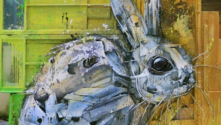Bordalocria estátuas e pinturas com tinta, entulho e peças encontradas no ferro-velho e em lixões. Elas retratam sempre animais - para que quem observeseja lembrado dos principais prejudicados pela nossa produção enorme de lixo.
