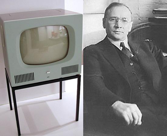 TELEVISÃO - O engenheiro russo Vladimir Zworykin patenteou o tubo iconoscópico para câmara de televisão em 1923. O primeiro sistema analógico foi demonstrado em 1924.