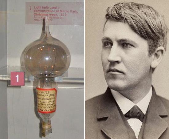 LÂMPADA INCANDESCENTE - Thomas Edison não inventou a lâmpada, mas foi o desenvolvedor do primeiro modelo de lâmpada incandescente comercializável. O protótipo, aceso no dia 21 de outubro de 1879, brilhou 45 horas seguidas. O inventor ficou milionário quando, em 1882, montou uma rede de distribuição de energia para iluminar parte de Nova Iorque.  Nesta época, Edison, que era um defensor da corrente elétrica contínua, tornou-se um dos maiores rivais de Nikola Tesla, o inventor da corrente alternada.