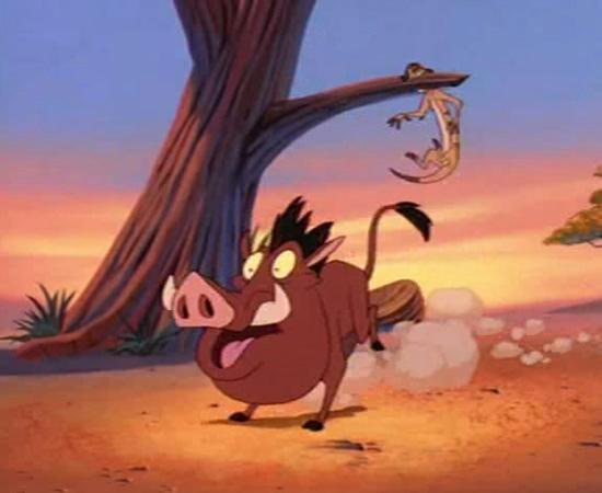 Timão e Pumba (1995) é um desenho animado sobre um javali e um suricate que aprontam várias confusões na floresta.