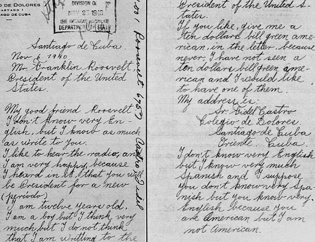 A carta perdida do menino Fidel Castro para Roosevelt
