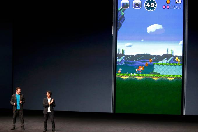 Shigeru Miyamoto announces a Mario Bros game for the iPhone during an Apple media event in San Francisco
