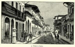 Vintage engraving of a street in Santos, Sao Paulo, Brazil. Ferdinand Hirts Geographische Bildertafeln,1886.
