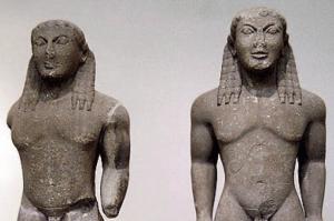 Os irmãos Cléobis e Bíton, segundo lugar no ranking da felicidade de Sólon.