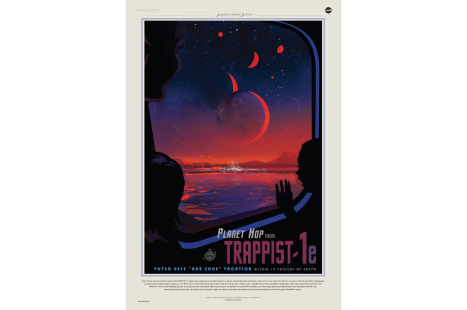 """""""Anúncio"""" para atrair visitantes ao 4º planeta mais próximo do """"sol"""" de TRAPPIST-1. Batizado de Trappist-1e, este seria o planeta com mais probabilidade de abrigarágua em estado líquido."""