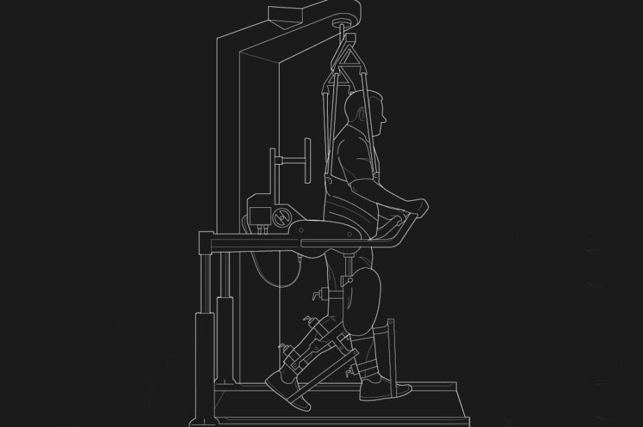 Na sequência, ele passa para o Lokomat, uma máquina para movimentar as pernas paralisadas numa esteira, com o paciente auxiliado por alças suspensas.