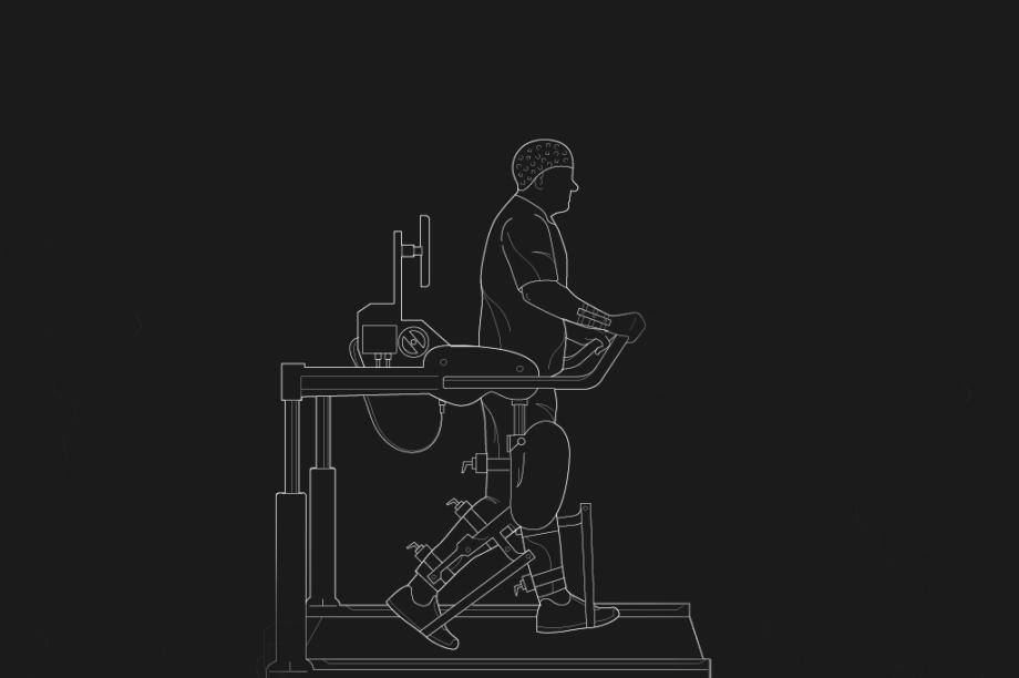 Com o sensor de atividade neural reinstalado, o paciente transmite comandos para mover as pernas ao mesmo tempo em que elas são movidas pelo Lokomat.
