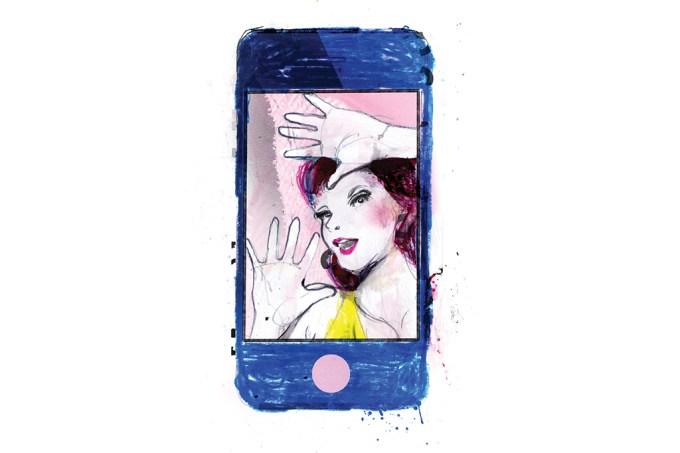 Mulher presa no celular ilustração