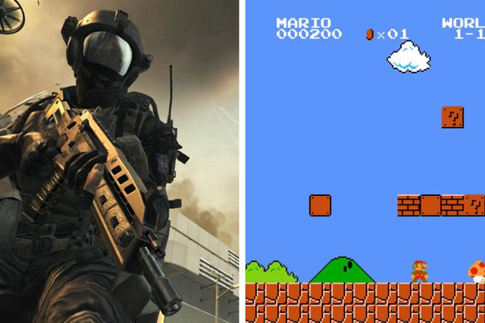 Call of Duty x Super Mario- só um deles faz bem para o cérebro