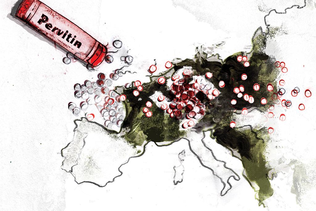 ilustração de uma embalagem de Pervitin jogada no mapa da Europa, com centenas de comprimidos
