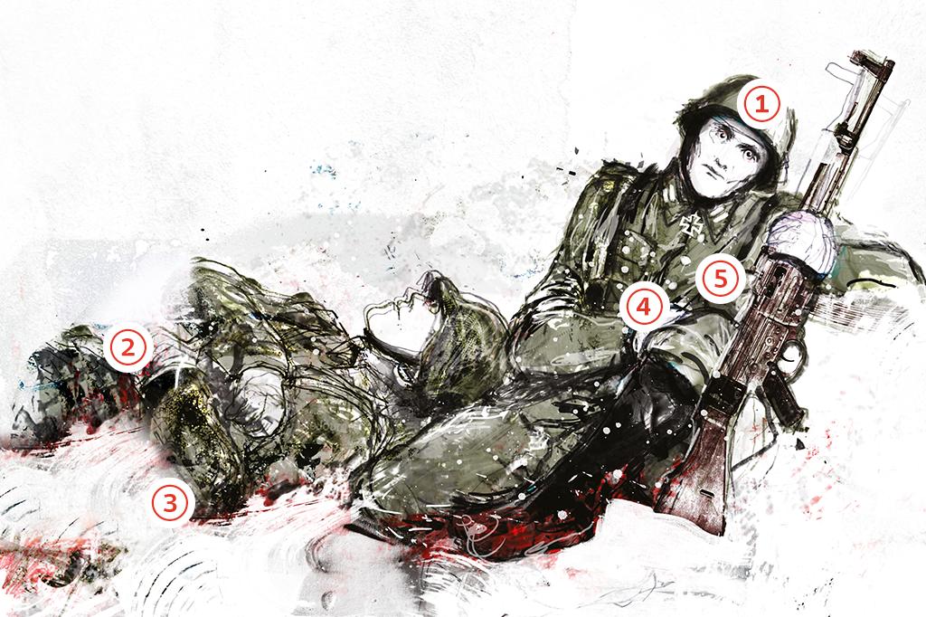 Ilustração de dois soldados caídos, alucinando. Eles estão apoiados um no outro e em suas armas.
