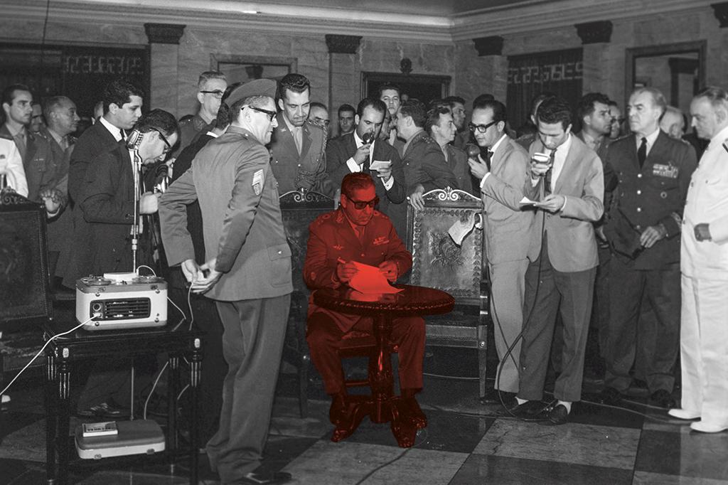 O general Costa e Silva assina o AI-1. Uma semana depois, Castelo Branco assume a presidência.