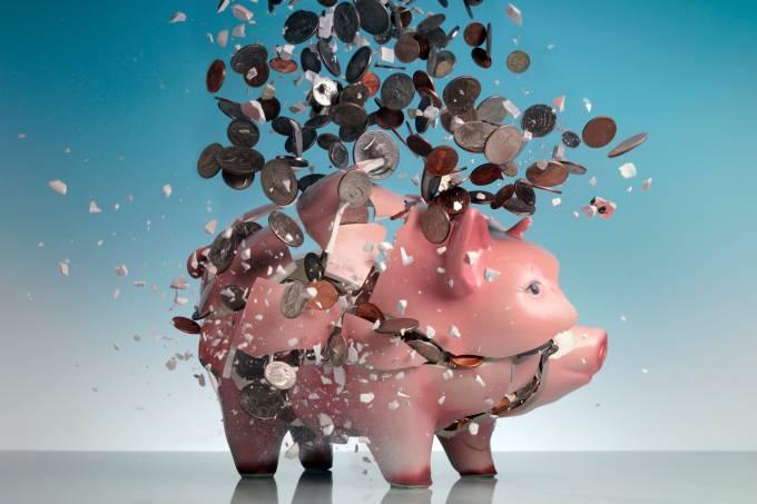 Cofre de porco explodindo