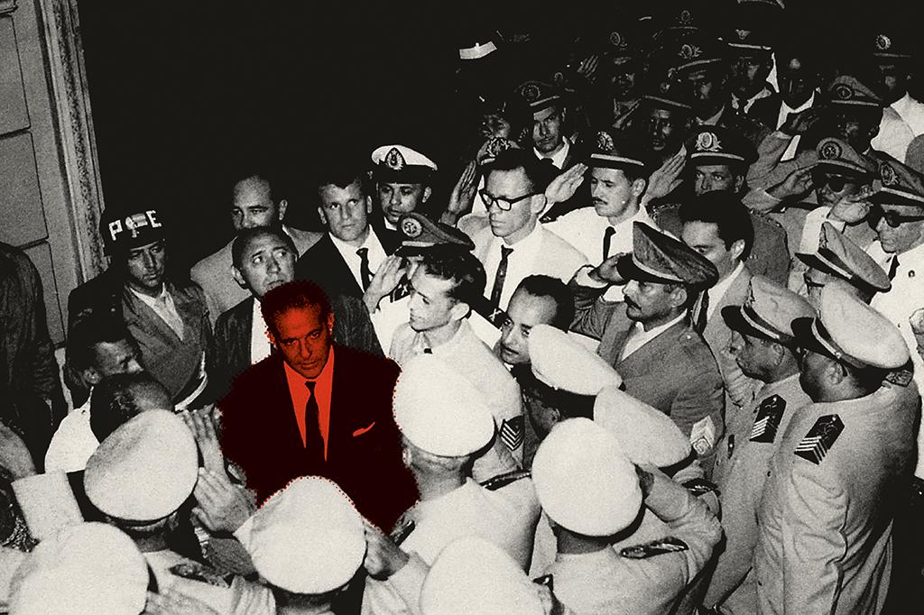 Jango chega à festa de 40º aniversário da Associação de Sargentos da PM, no Rio, em meio a uma crise de disciplina militar. Dois dias depois, já não era mais presidente.