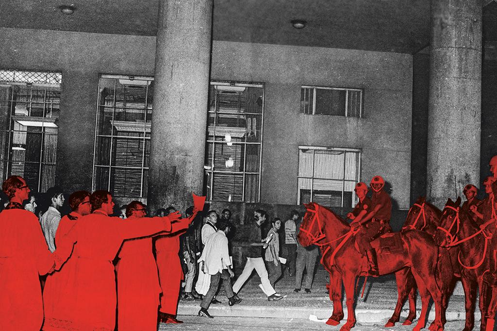 Padres fazem barreira entre manifestantes e policiais para evitar confronto durante a missa de sétimo dia em memória do estudante Edson Luís, morto pela PM em 1968.