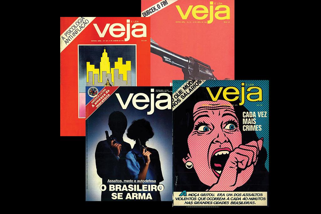Na ditadura, a Veja relatou o crescimento da violência urbana em quatro capas. Já eram dessa época os arrastões a prédios, os vigilantes privados e os anúncios de revólver em promoção.