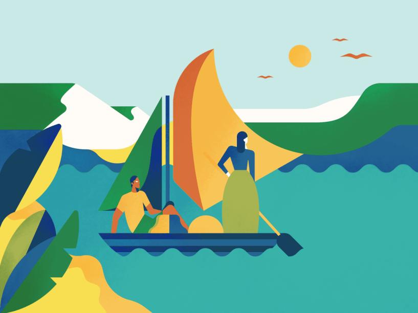 Canoa: o potencial da inventividade humana se manifestou há muitos milênios e resolveu um problema importante: como levar as pessoas de um lado para o outro de lagos e grandes rios. Ao desenvolverem as primeiras canoas, há 8 000 anos, esses inventores descobriram que podiam se locomover a grandes distâncias, usando os rios como avenidas- Naquela época, não era preciso muita tecnologia, bastavam um tronco e uma ferramenta para cortar. A diferença estava no conhecimento necessário para saber fazer uma boa canoa, rápida e resistente