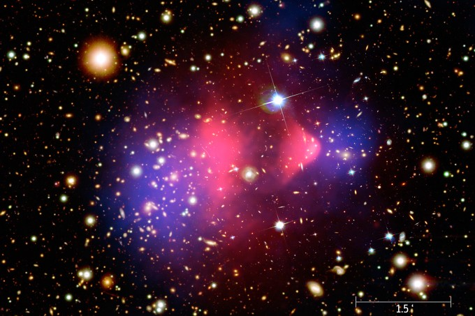 Two large galaxy clusters about 4 billion light years from Earth.