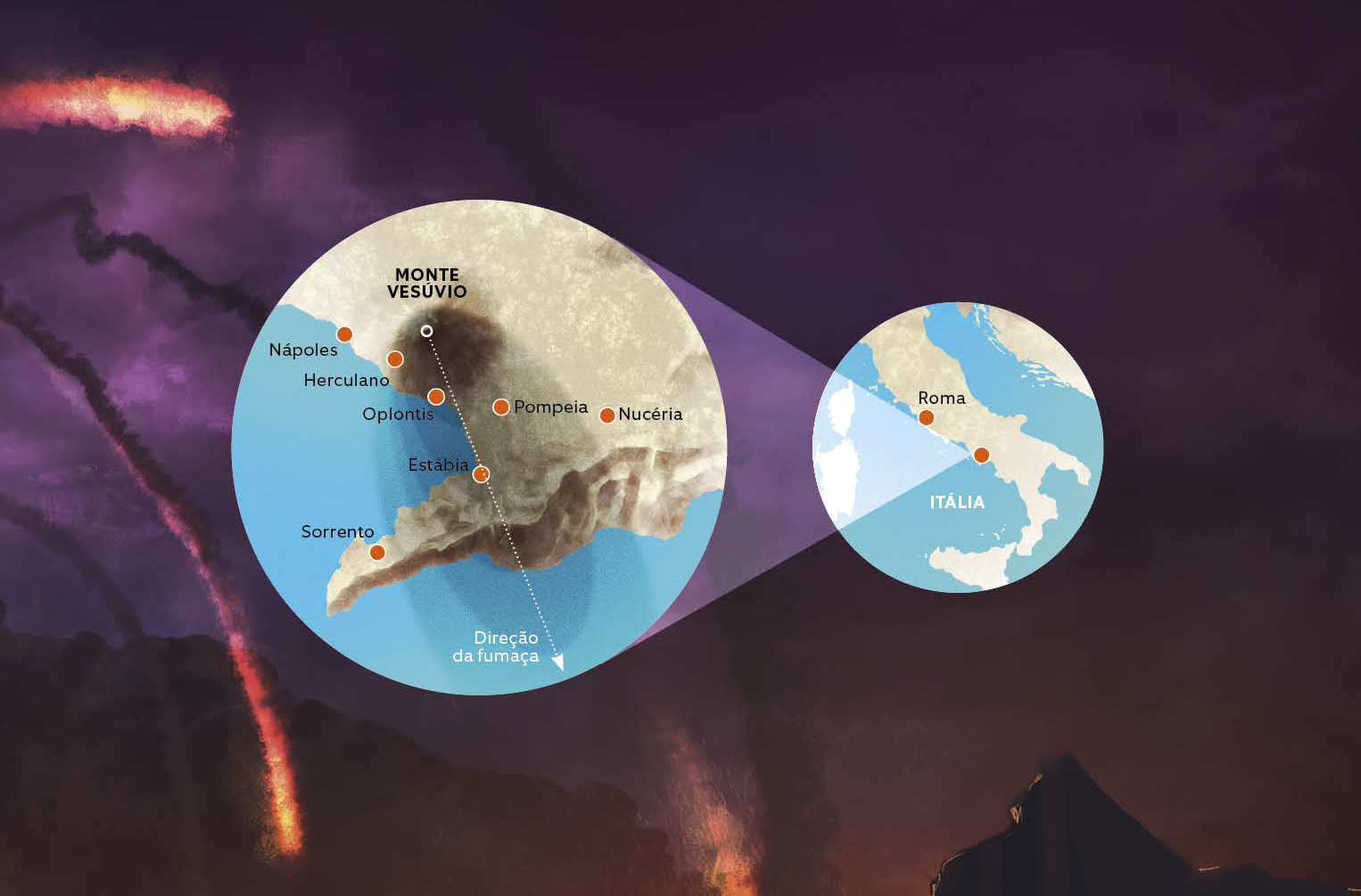 erupcao do vesuvio recortes mapa