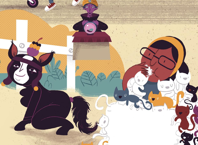 lambedora de gatos e égua