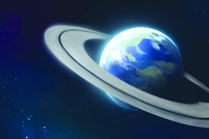 Aparência da Terra se ela tivesse anéis como os de Saturno