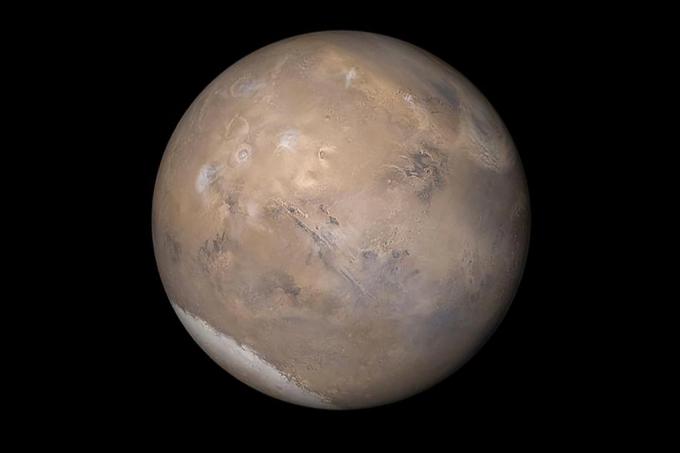 Água líquida debaixo de calota de gelo em Marte_home
