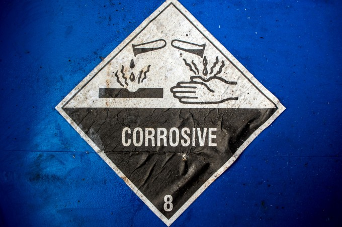 Corrosive material at the acid container