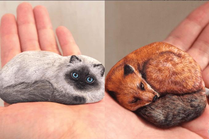 Artista japonesa faz sucesso pintando animais em rochas