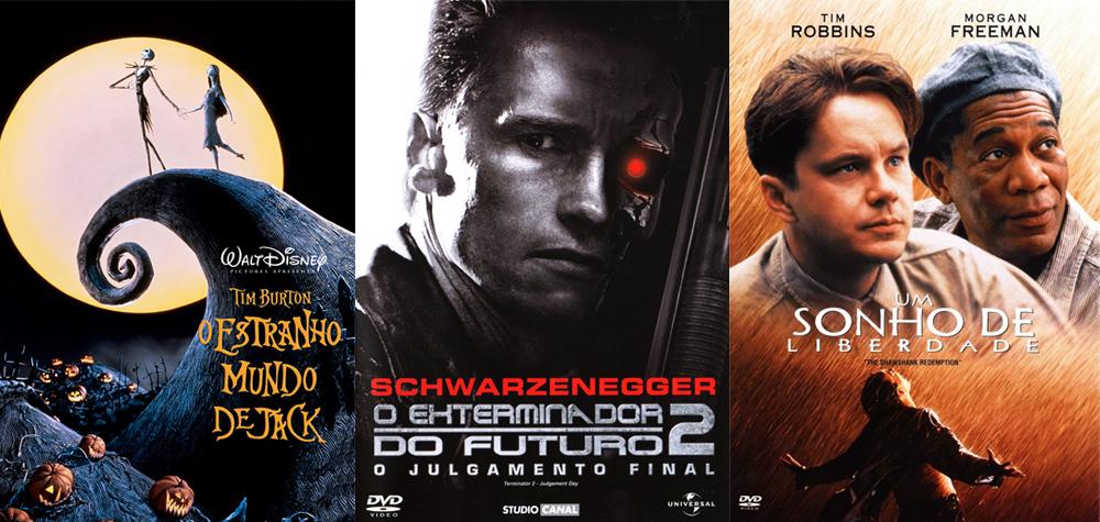 Posters O Estranho Mundo de Jack, O Exterminador do Futuro 2 e Um Sonho de Liberdade