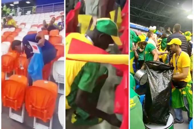 Torcidas viralizam na web depois de limparem estádios da Copa
