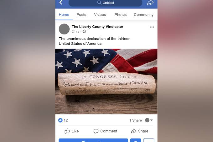 Facebook marca declaração de independência dos EUA como discurso de ódio