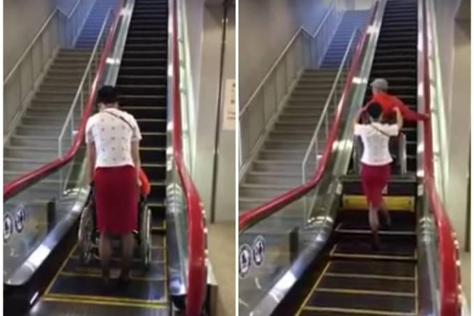 No Japão, escada rolante vira elevador para cadeirante