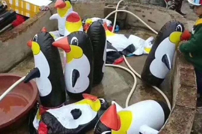 Zoológico na China substitui animais com cópias infláveis