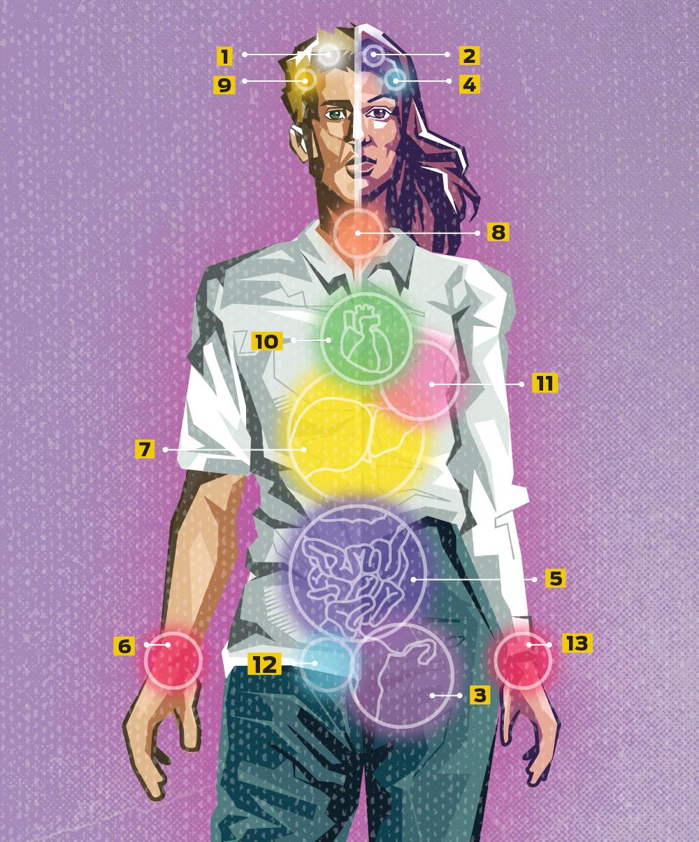 Ingográfico ilustrado com um corpo humano. Em cada parte, há um número que corresponde às legendas dos meses de conscientização. Cada um deles tem uma cor diferente referente ao mês.