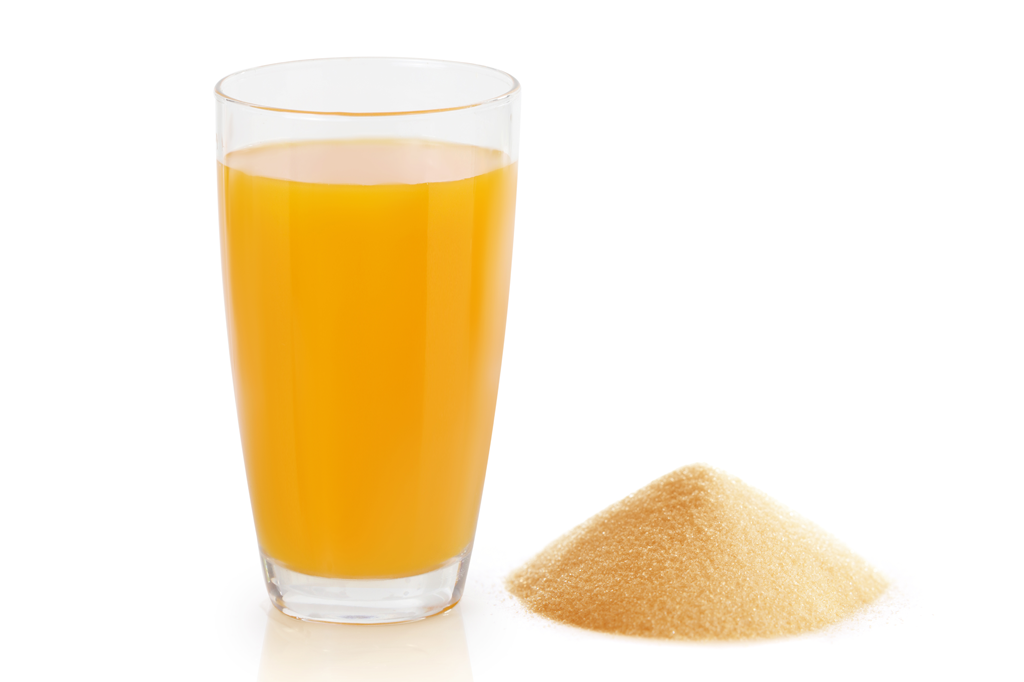 Ingredientes do rótulo do suco de laranja de pó