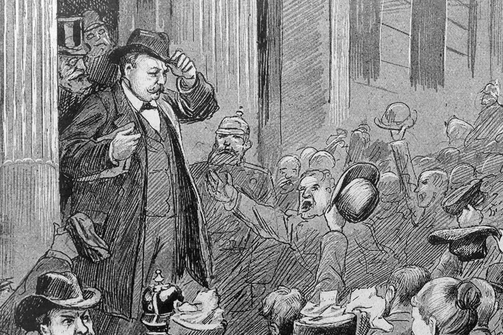 <em>Hermann Ahlwardt: político antisemita é saudado por simpatizantes na saída do Parlamento, em 1893.</em>
