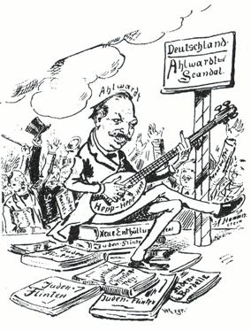 <em>Caricatura de Hermann Ahlwardt, em 1892. O texto escrito no instrumento é uma referência aos motins Hep-Hep, em que houve ataques a judeus em muitas cidades, em 1819.</em>