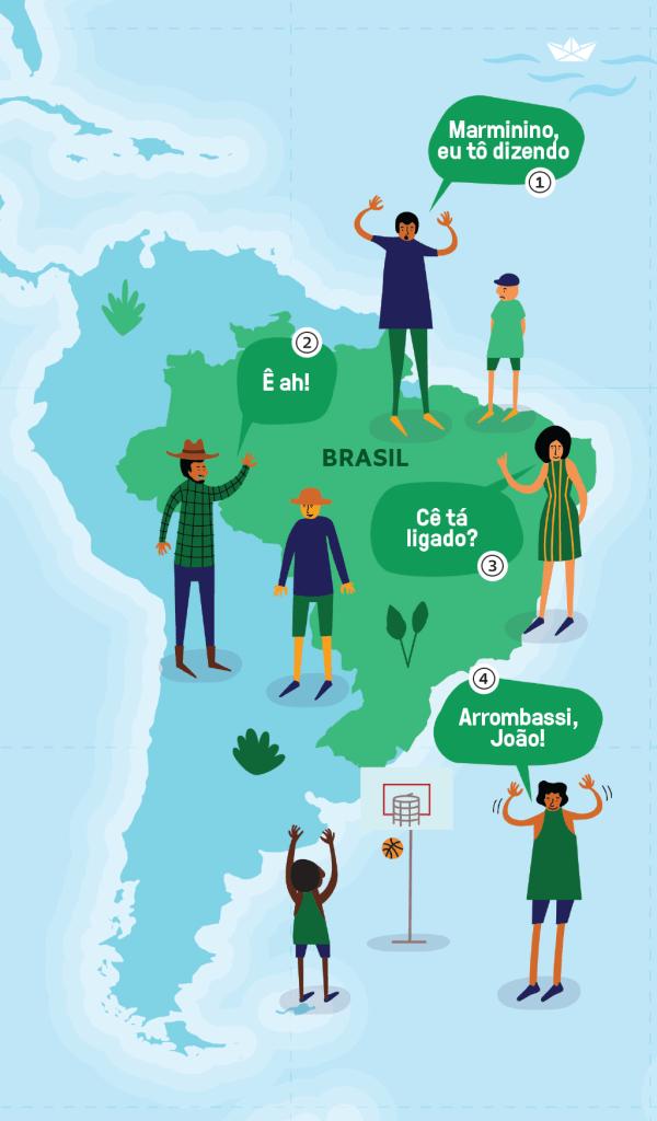 Mapa Brasil língua portuguesa