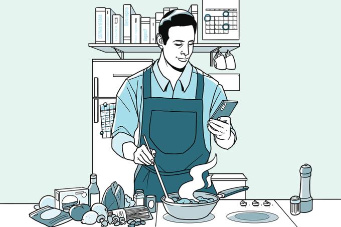 Ilustração homem cozinhando