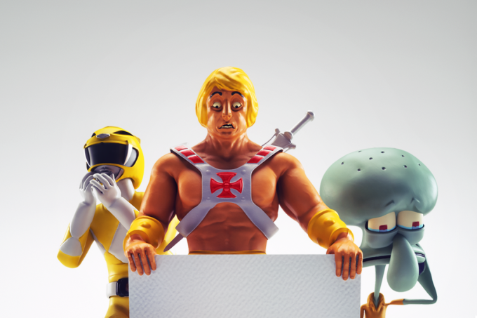 Bonecos He-Man, Power Ranger e Lula Molusco