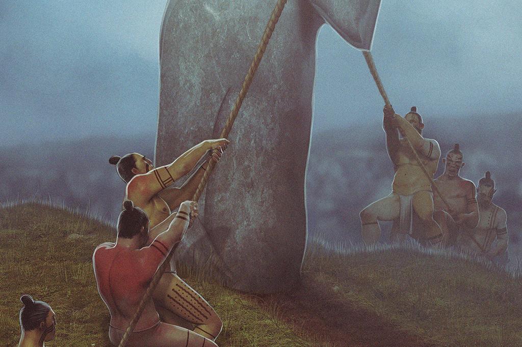 Ilustração de nativos erguendo um moai da Ilha de Páscoa.