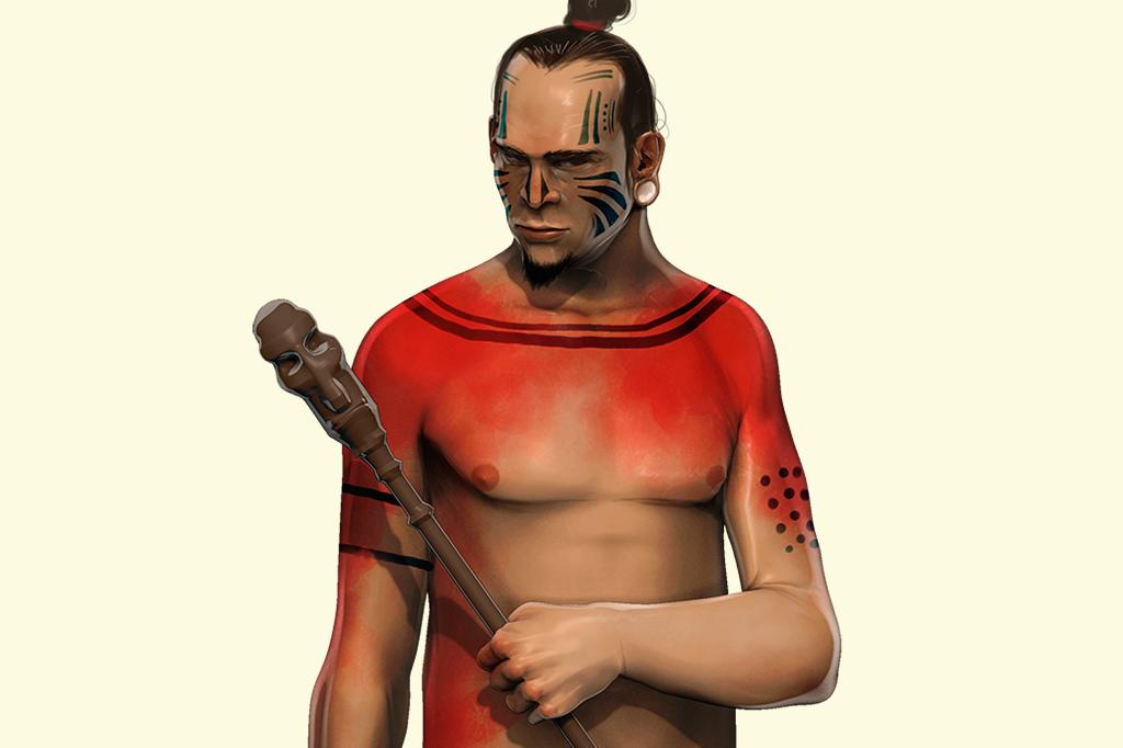 Ilustração de nativo da Ilha de Páscoa.
