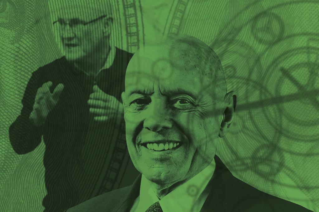Imagem dos dois gurus: Hyrum Smith e Stephen Covey com um filtro verde