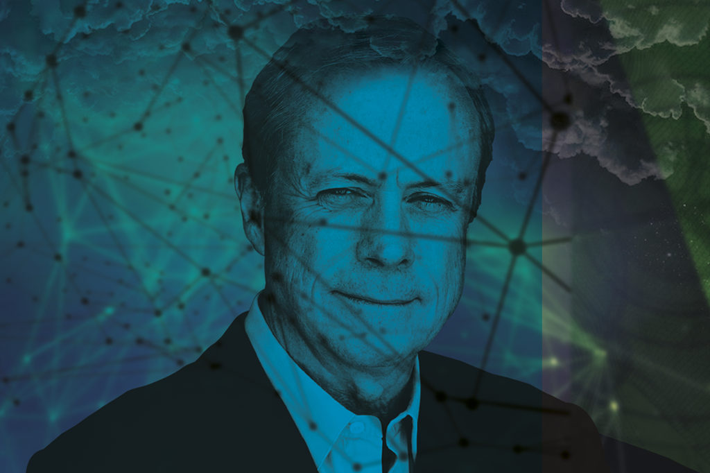 imagem David Allen com um filtro azul, nuvens e um desenho de redes.